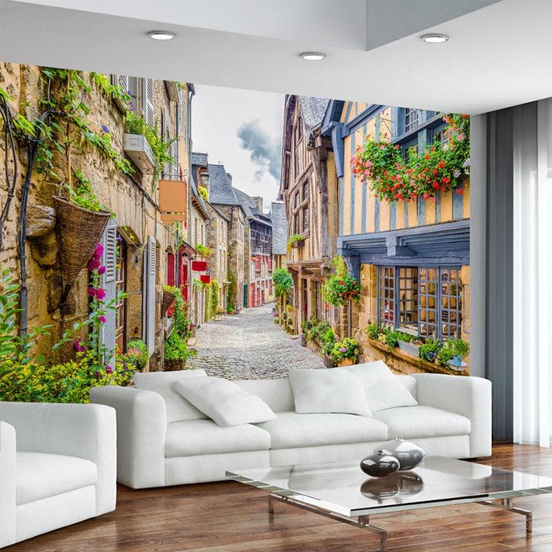 Photo Wallpaper 3D City Street Landscape Mural Restaurant Cafe Living Room TV Backdrop Wall Painting Papel De Parede 3D Paisagem