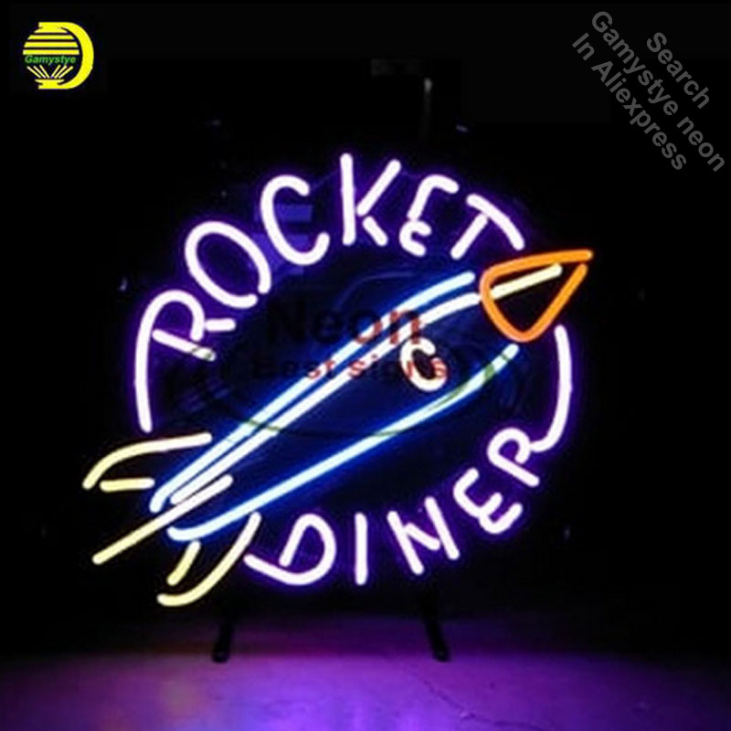ROCKET DINER Neon Sign Neon Bulb Sign Real Glass Tube Handcrafted Decorate Shop lights neon wall light vinyl signs antique ArtROCKET DINER Neon Sign Neon Bulb Sign Real Glass Tube Handcrafted Decorate Shop lights neon wall light vinyl signs antique Art