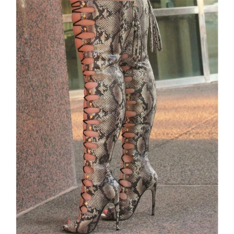 Bottes À Sandales Le Serpent Chaussures Talons Stilettos Hauts Mode Gladiateur Imprime Bout Sur Découpes Ouvert Femmes Genou Cuissardes OYwxPp