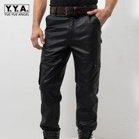 2019 новые черные штаны из натуральной кожи Для мужчин модные Повседневное плюс Размеры мотоциклетные штаны Для мужчин кожа бегунов Панталон