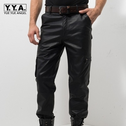 2019 Nieuwe Zwarte Lederen Broek Mannen Mode Toevallige Plus Size Motorfiets Broek Mannen Lederen Joggers Pantalon Homme M-XXXXL