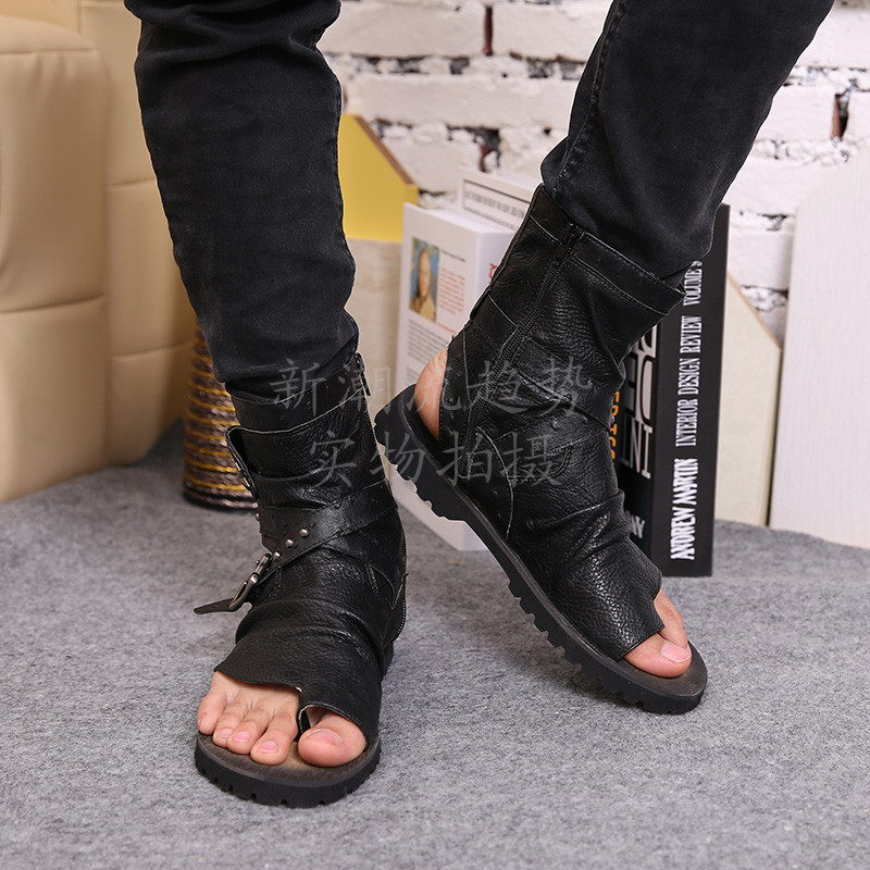 1b96ec92e New Arrival Men Sandals Black Leather Ankle Buckle Open Toe Thong Sandals  Men Ankle Bootie -in Men s Sandals from Shoes on Aliexpress.com