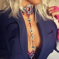 Best Lady DIY Sexy Gem Summer Body Chain Luxury Fashion Statement Necklace Pendant Maxi Female Instagram