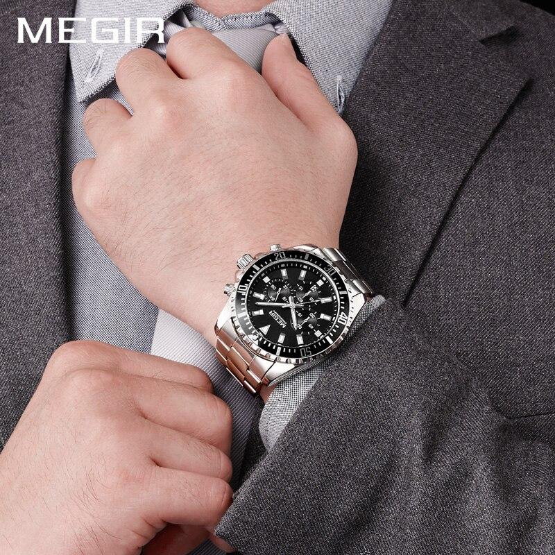 MEGIR Hommes Casual Quartz Sport Montres Chronographe En Acier Inoxydable 30 m Étanche Grand Cadran Sport Militaire Montre-Bracelet Homme Horloge