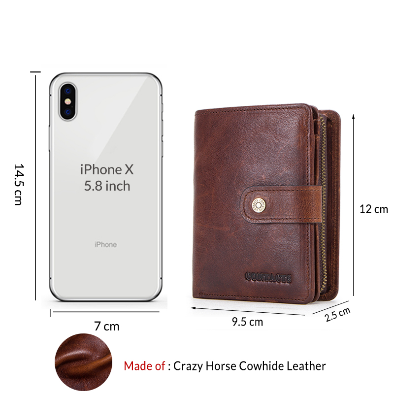 100 Genuine Leather Men Wallets Zipper Coin Purse Short Male Money Bag Quality Designer Rfid Walet Small Card Holder Clutch in Wallets from Luggage Bags