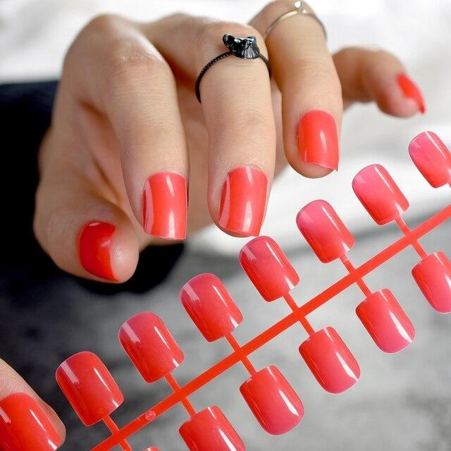 Candy Short Fake Nails Medium Flat Top Red False Clear Diy Nail Art Manicure Product 24pcs