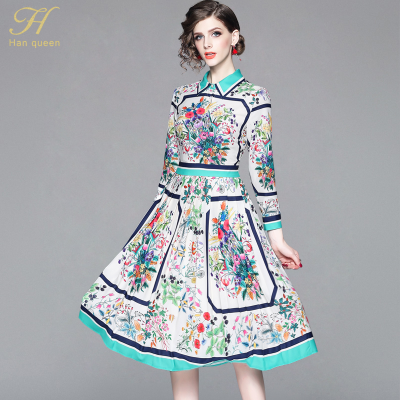 92c5ec5bf3b H Han Queen New 2019 Spring Print Dress Chiffon Boho Beach Casual Runway  Women 50s Vintage