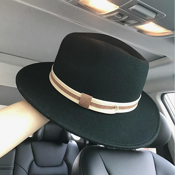 Xongkoro Ladys High Quality 100% Wool Hat Girls Formal Flat Top Hats Black Grey Color Fedoras For Women