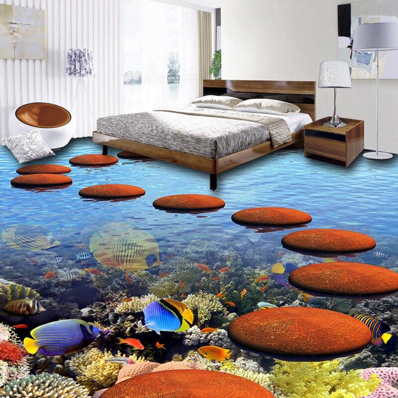 3d floor sticker mural vinyl wallpaper home decor coral tropical fish ocean bathroom floor. Black Bedroom Furniture Sets. Home Design Ideas