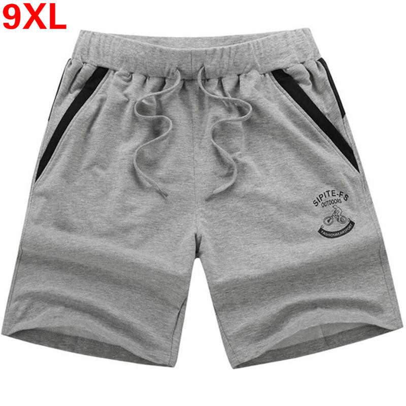 Plus Size 7XL,8XL,9XL Men's Shorts Summer Elastic Waist Beach Shorts Cotton Casual Male Bermuda Masculina Shorts Homme