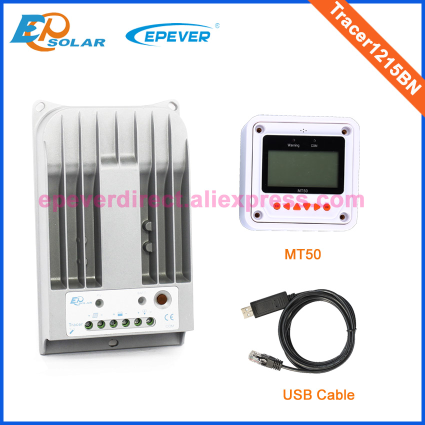 10A 10amp Tracer1215BN solar regulator mppt controller with MT50 in white color and USB cable connect 12v 24v mppt 10a 10amp solar controller 12v 24v panel regulator with bluetooth connect function tracer1215bn epever