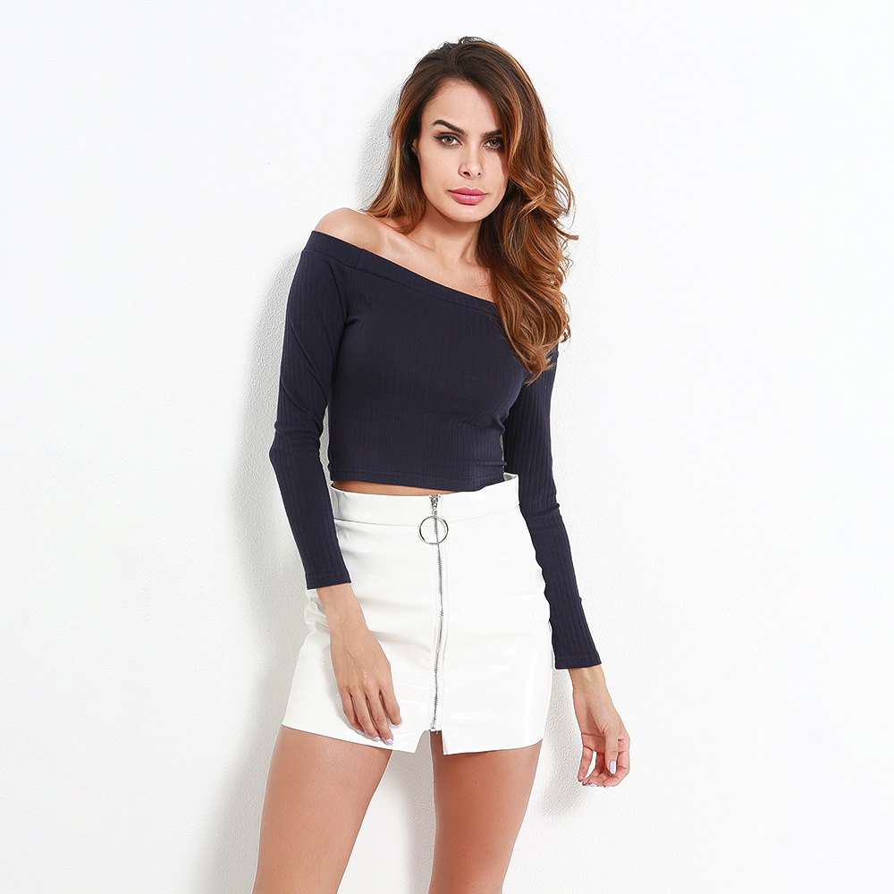 Sexy Slash Neck Long Sleeve Crop Top Knitted T Shirt Women Tops Casual Off Shoulder Short Slim Spring White T-Shirts Streetwear