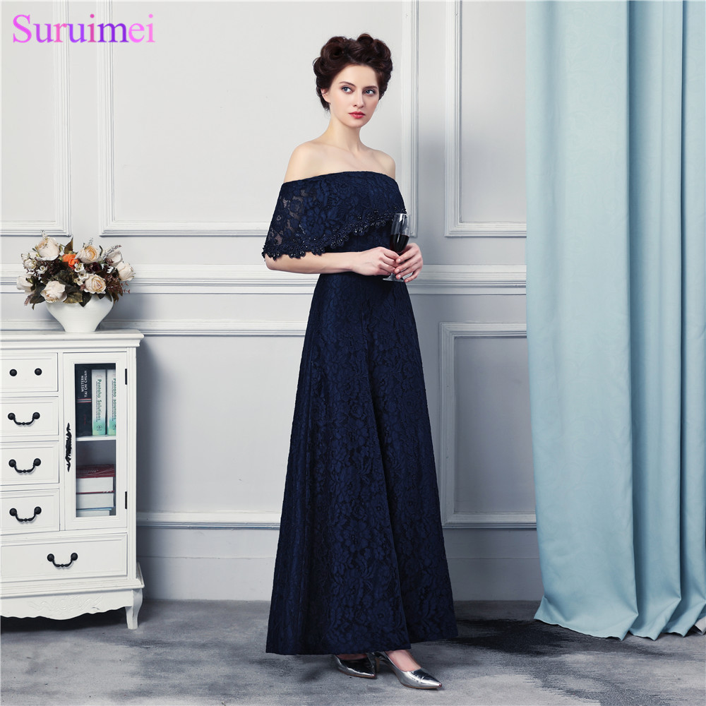 Navy Blue Bridesmaid Dresses Floor Length High Quality Lace Off Shoulder Maid Of Honor Brides