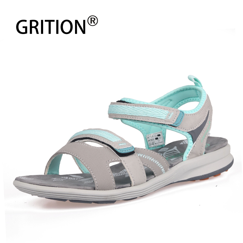 GRITION Women Sandals Flat-Shoes Strap Open-Toe Fashion Summer Beach Outdoor Casual Ankle-Buckle