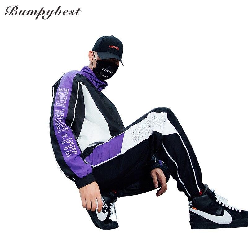 Bumpybeast automne hip hop style hommes lâche veste vêtements vestes + pantalon survêtement hommes sportswear hommes sport costumes M-3XL