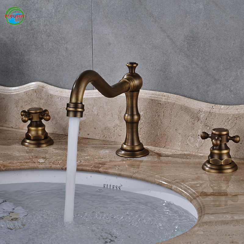 deck mounted manual brushed antique brass basin faucet bathroom and kitchen with two handle and one hole hot and cold water стоимость