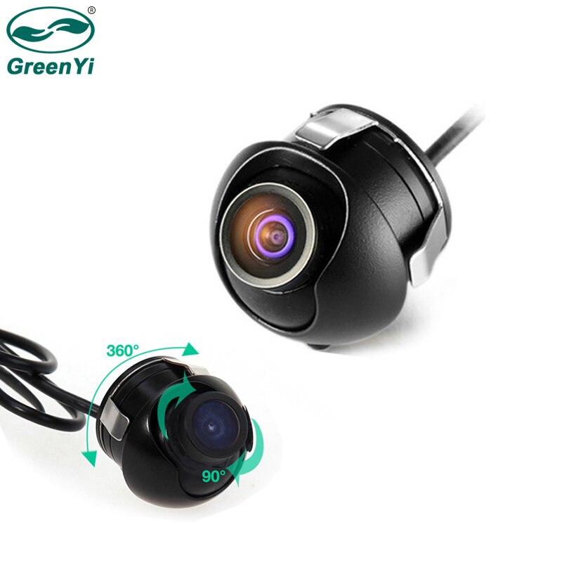 GreenYi Mini CCD 360 grados de visión trasera cámara frontal vista lateral cámara de reserva con Multi-función Cable conmutador