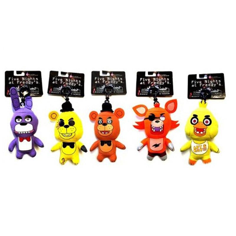 5Pcs/Lot FNAF Five Nights at Freddy's Freddy Fazbear Golden Freddy Foxy Bonnie Chica Plush Toys KeyChain