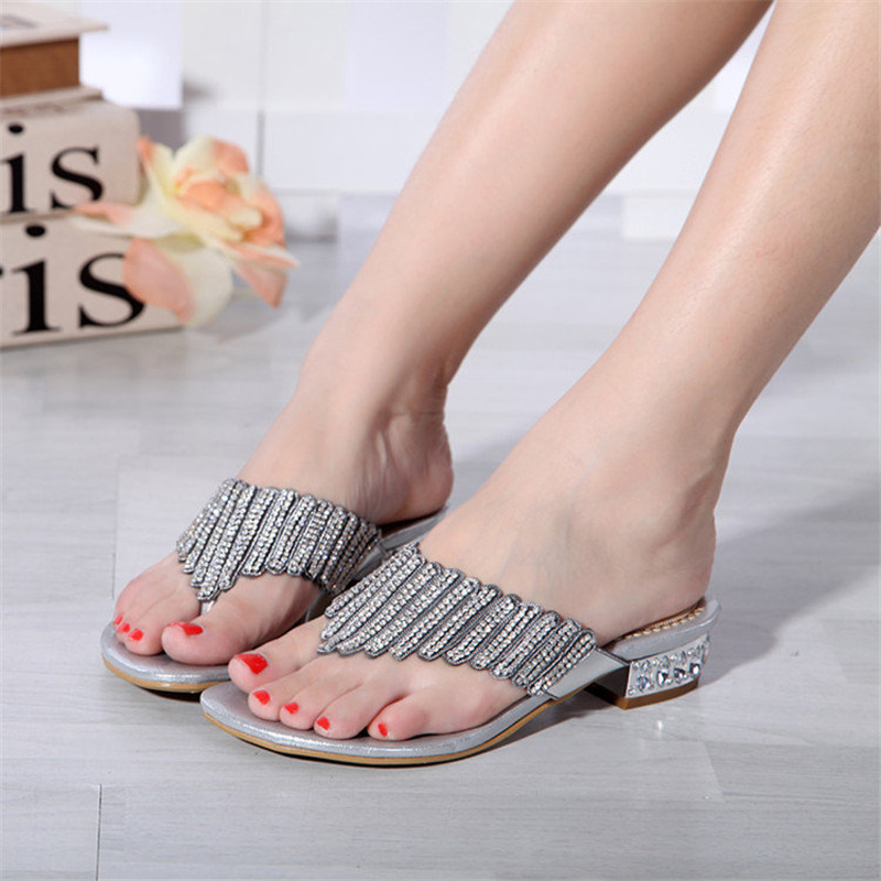 2018 Summer Hot Style Sexy Women's Shoes Low Heel Round Toe Sandals Casual Silver Comfort Sandal Flip Flops Slippers rhinestone silver women sandals low heel summer shoes casual platform shiny gladiator sandal fashion casual sapato femimino hot