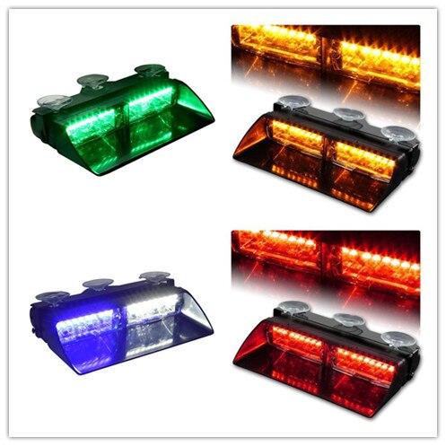 XYIVYG 16 LED Car Police Strobe Flash Light Dash Emergency 18 Flashing Modes Light Warning Lamp White Amber Red Blue Green 12V