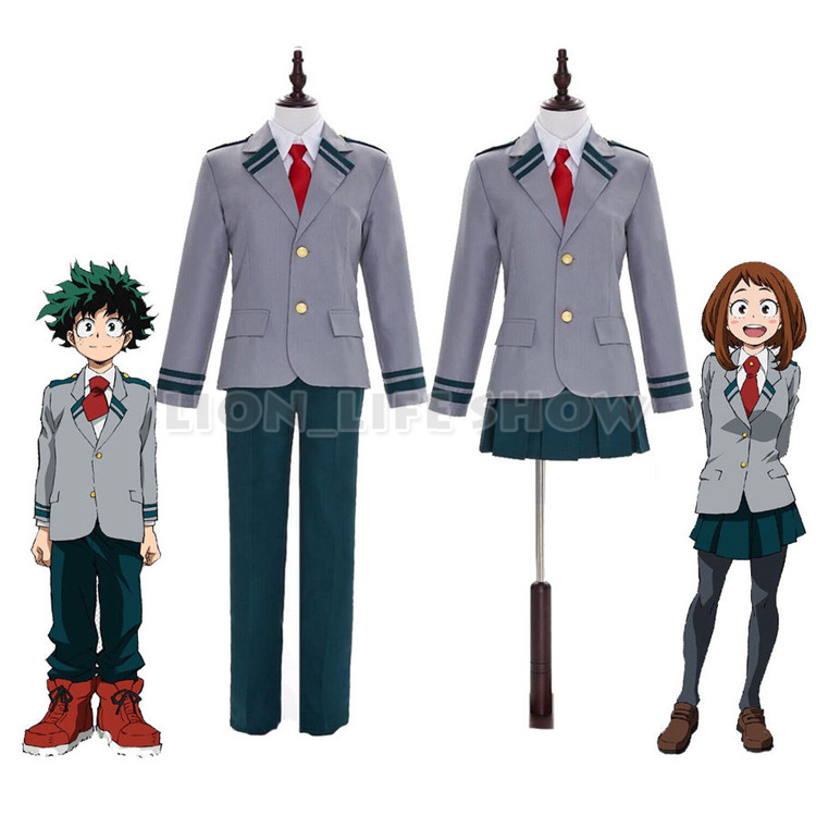 My Hero Academia Midoriya Izuku Ochako Uraraka School Uniform Cosplay Costume