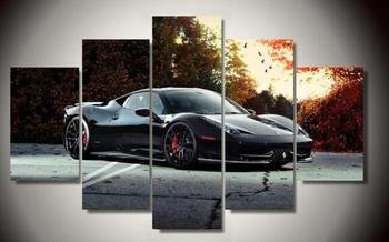 Unframed Canvas Paintings Luxury Car Landscape 5piece Picture Wall Art Bed Living Room Backdrop Modern Home Deco Pictures ferrari 458