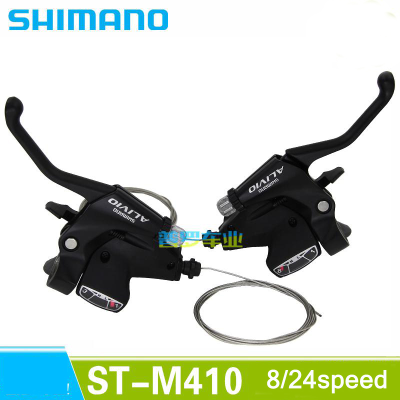 SHIMANO ALIVIO Mountain bike ST-M410 shift brake lever 3*8 speed 24s MTB bicycle bike Conjoined DIP Bicycle Derailleur  shimano acera mountain bike st ef65 shift brake lever 3 8 speed 24s mtb bicycle bike conjoined dip bicycle derailleur