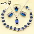 XUTAAYI Hot Silky Blue Synthetic Sapphire Jewelry Sets For Women Sterling Silver Earrings Necklace Pendant Rings Bracelet