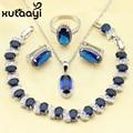 XUTAAYI Hot Silky Blue Synthetic Sapphire Jewelry Sets For Women Sterling Silver Earrings Necklace Pendant Rings Bracelet