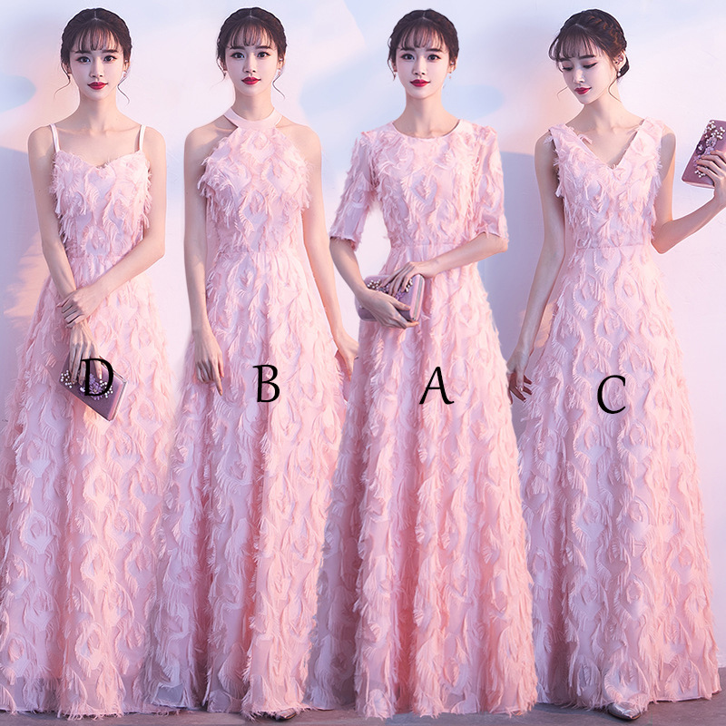 2018 New Elegant Pink Long   Bridesmaid     Dresses   V Neck   Bridesmaid     Dress   A-Line Lace   Dresses   for Wedding Party Women Mingli Tengda