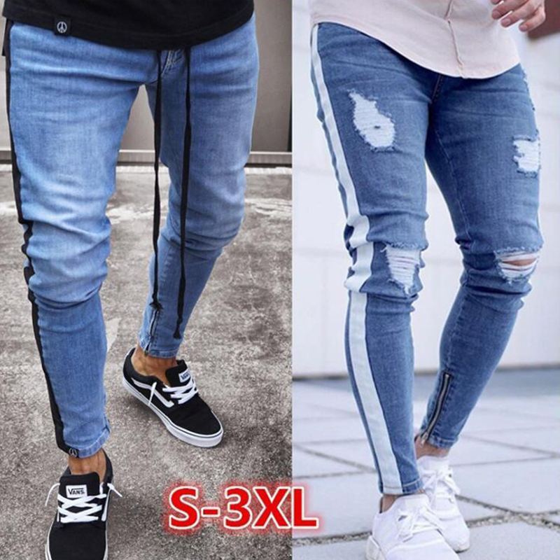 2019 Skinny Jeans Men Sexy Ripped Hole Stretch Denim Trousers Male Autumn Straight Streetwear Pencil Hip Hop  Jeans Plus Size