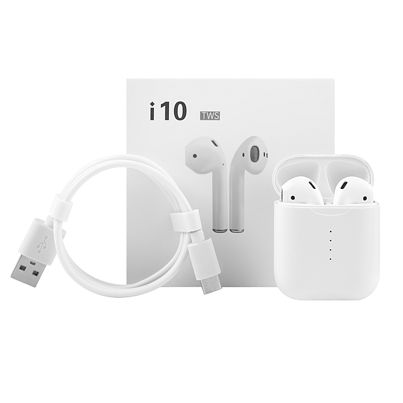 i10 TWS Wireless Headphones Touch Control Bluetooth Earphones Wireless Charging Headset For Iphones Xiaomi 100Pcs DHL