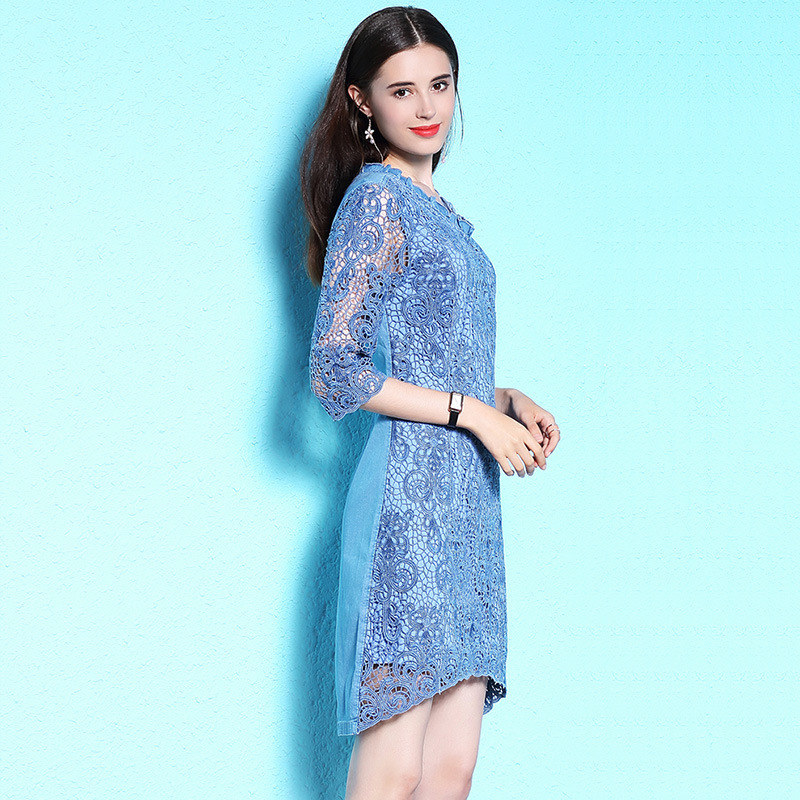 Nordic style large size women s summer dress dating party dress lace dress summer thin denim