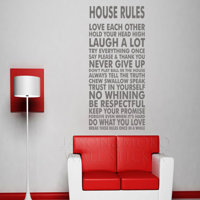 House rules poster print sign letters vinyl wall decal sticker mural wallpaper art living dining room