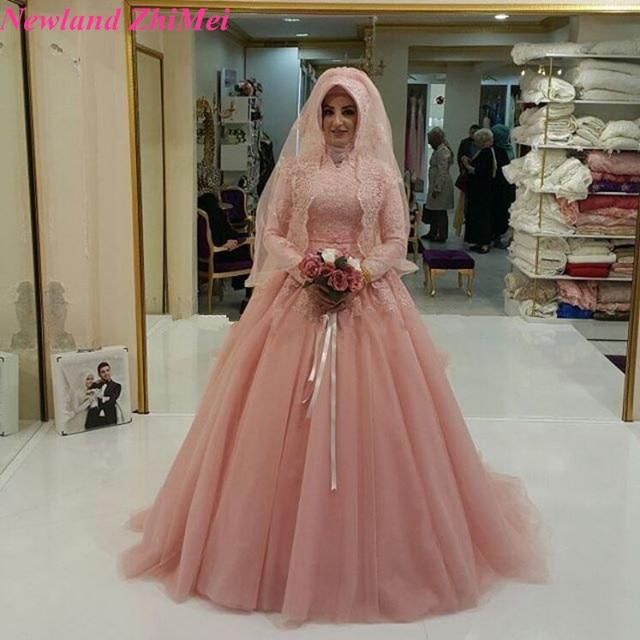 45f3eaee373 High Neck Muslim Wedding Dress Lace Applique A Line Arabic Design Custom  Made Hijab Bride Dresses abito da sposa