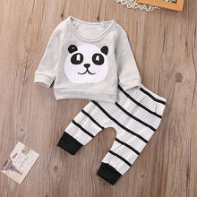 Baby Clothing Sets Long Sleeve Panda T-shirt +Striped Pants 0-18M