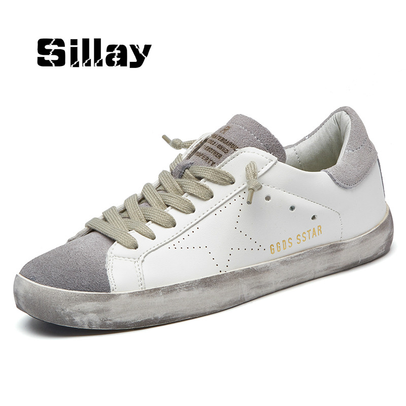 New Brand Designer 2018 Italy Golden Genuine Leather Casual Men Trainers Goose star shoes Breathe Shoes Footwear Zapatillas 2016 high quality italy brand golden goose superstar casual shoes ggdb sstar white men women genuine leather 100