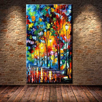 Large Hand Painted Modern Palette Knife Oil Canvas Painting Astract Art Tree Lamp Night Scenery Wall Picture Entrance Wall Decor