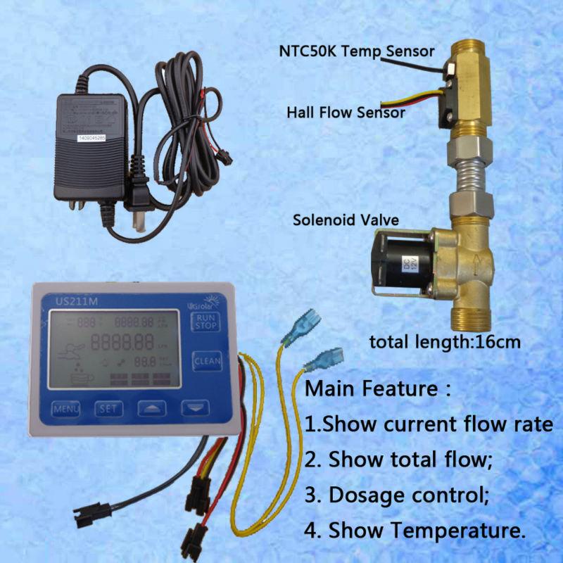 US211M Water Flow Sensor Reader Digital Flow Meter with USC-HS21TLT hall effect water flow sensor and NTC50K temperature sensor цена