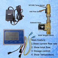US211M Water Flow Sensor Reader Digital Flow Meter with USC HS21TLT hall effect water flow sensor and NTC50K temperature sensor