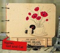 2017 New Girls And Cat DIY Photo Album Creative Gift Scrapbooking Baby Weeding Travel Scrapbook Crafts