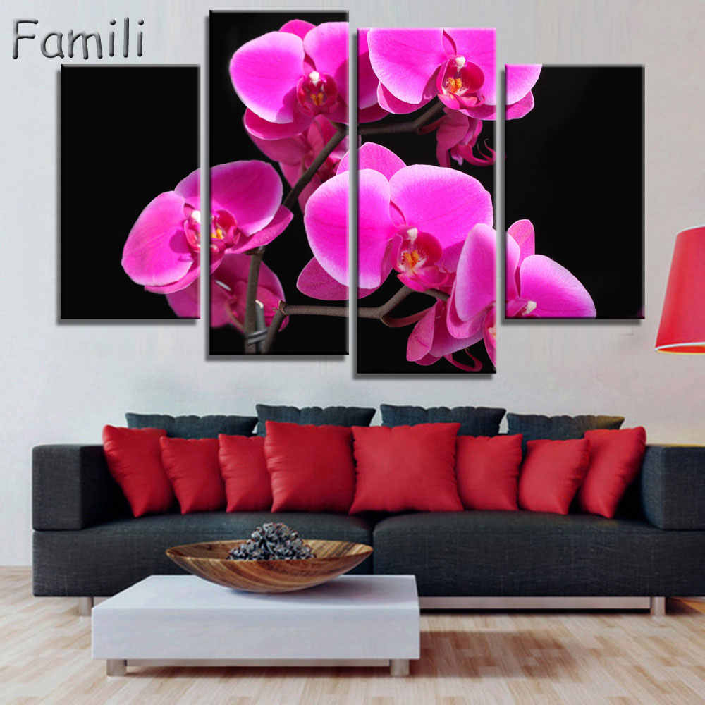4pcs Hot Sell Modern Painting Purple Orchid Home Decor Canvas Painting Flowers Wall Pictures For Living Room Modular Pictures