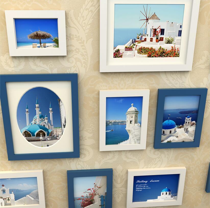 15 teile/satz Holz Bilderrahmen Familie, Bilderrahmen Wand, Blau ...