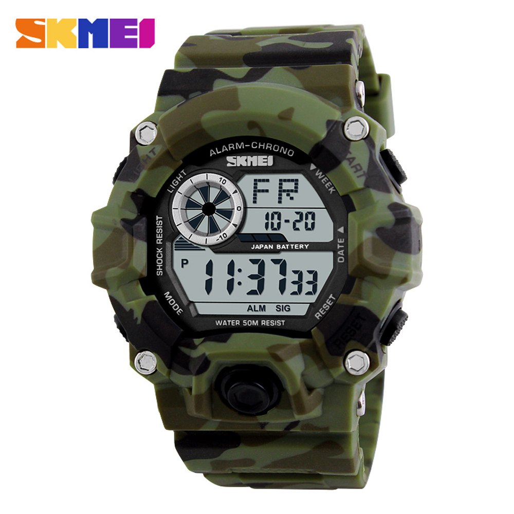 1019 Men Sports Watches S SHOCK Camouflage Military Watches Digital LED 50M Waterproof Wristwatches Relogio