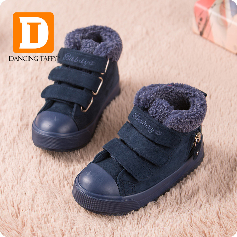 купить Brand Children Shoes Boys Boots Kids Ankle Snow Boots Autumn Winter 2017 Flock Plush Flat Rubber Warm Toddler Girls Sneakers по цене 2135.12 рублей