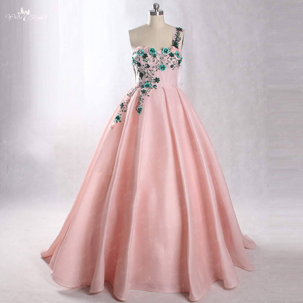LZF051 Luxury 3d Flowers Evening Dress New 2018 Beautiful One Shoulder Sleeveless Sweep Train Dresses
