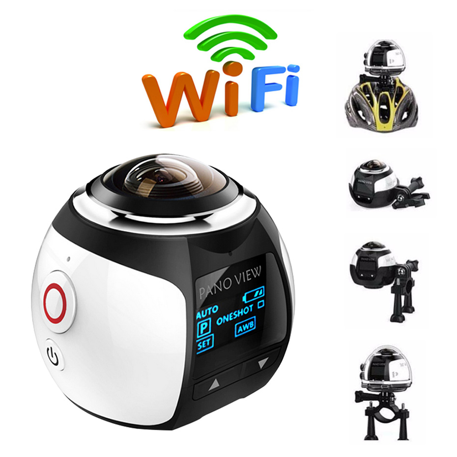 цена на VR Camera Mini Panoramic Camera 360 Degree Waterproof Sport Driving Build-in Wifi 360 Action Camera for Android/IOS Smartphone