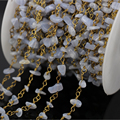 5 м голубой агат чип бусины ссылка четки цепи, Голубой халцедон с золотой проволоки завернутый сеть ожерелье браслет ювелирных изделий