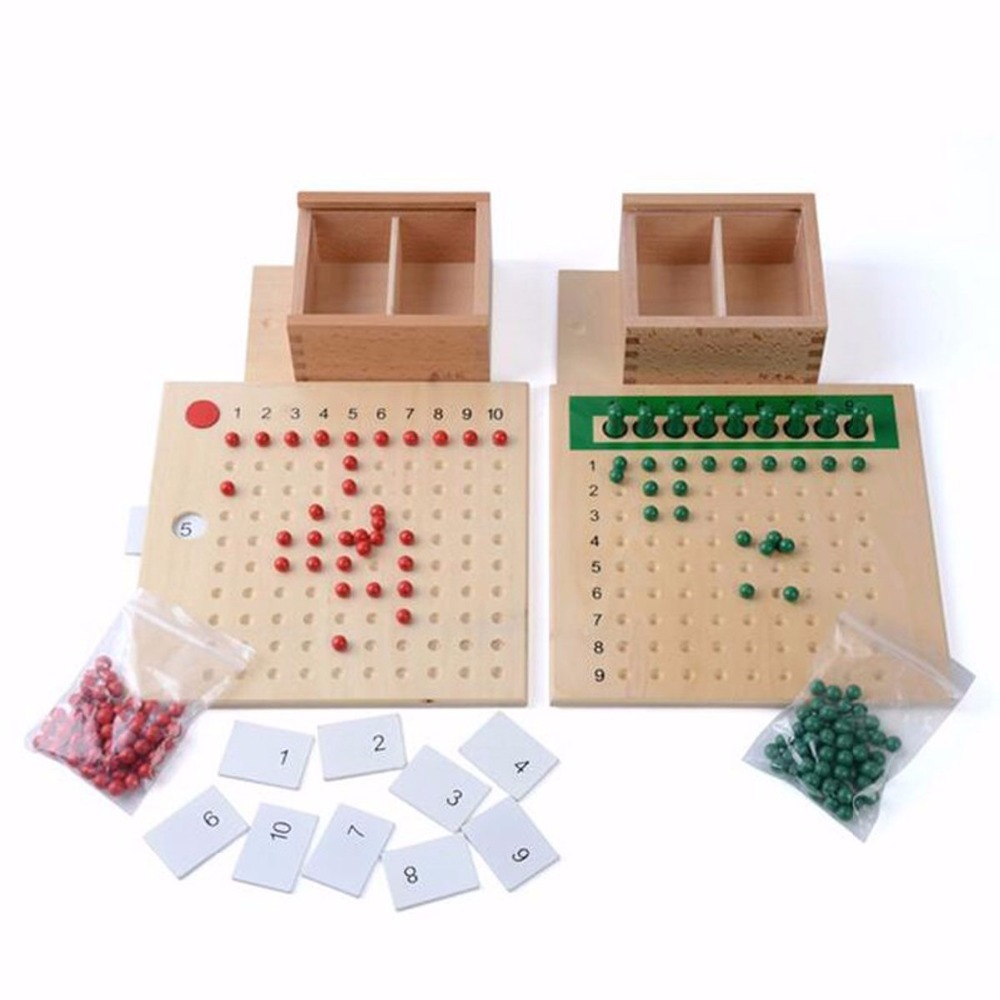 Montessori matériel de mathématiques en boîte Multiplication et Division arithmétique aides pédagogiques jouets éducatifs en bois pour les enfants