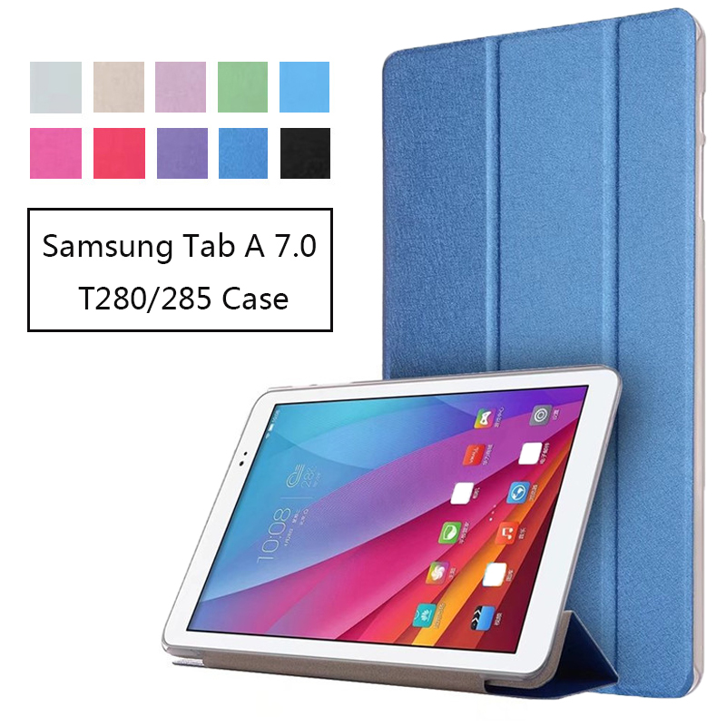 For Samsung Galaxy Tab A 7.0 7-inch Tablet T280/T285 Cover New Silk Stand Folio Flip PU Leather Protect Case silk texture horizontal flip leather case for galaxy a6 2018 with holder